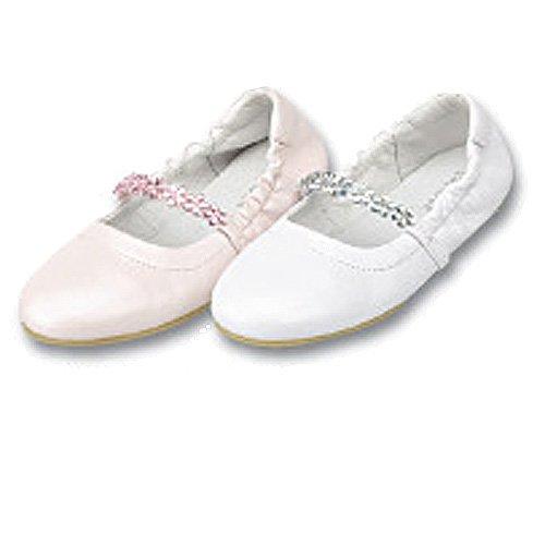 c90e34d240781 Little Girls White Jewel Flower Slipper Dress Shoes 4