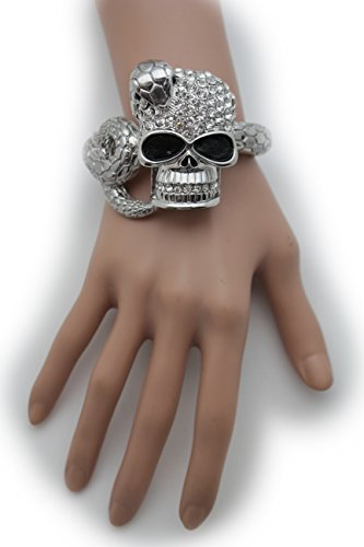 TFJ Women Cuff Bracelet Trendy Fashion Halloween Jewelry Metal Cobra Snake Skeleton Skull Pirate