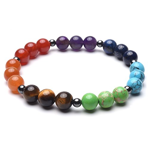 Top Plaza 7 Chakra Reiki Healing Crystals Natural Gemstone Beads Hematite Black Metal Magnetic Therapy Elastic Bracelets For Men Women(Spacer ()