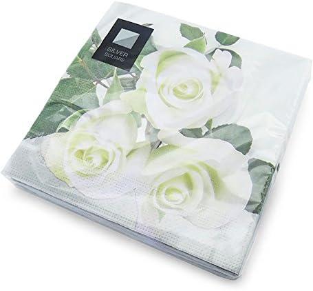 /33/cm x 33/cm/ barbecues Livraison Gratuite bapt/êmes f/êtes /Id/éal pour Les Mariages etc Party /& Paper Solutions 20/de Luxe 3/Plis Blanc Motif Rose Serviettes en Papier/