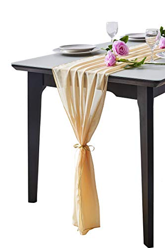 Aviviho Champagne Glod Table Runner 29 x 120 Inche Sheer Table Runners for Rustic Wedding Boho Party Table Decor Bridal Shower Baby Shower Decoration