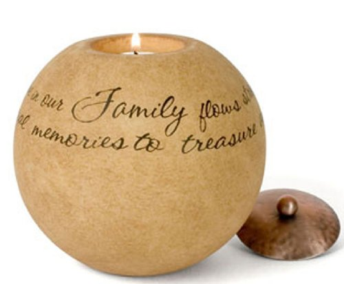 Pavilion Gift Company Comfort Candles 5-Inch Round Candle Holder, Family