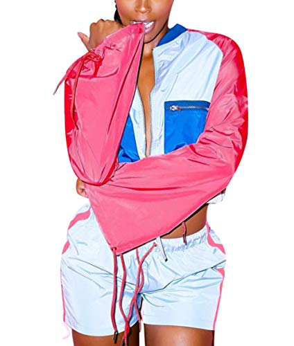 Salimdy Womens 2 Piece Sweatsuits Tracksuits Colorblock Patchwork Outfits Hoodie Top & Pant Leggings Pink L ()