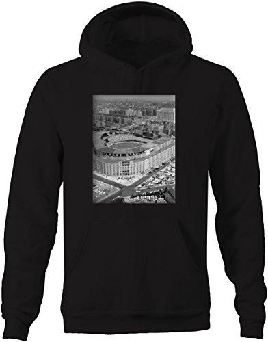 Black New York Hooded Sweatshirt - Baseball - Yankee Stadium Vintage Original Retro New York Sweatshirt - Large Jet Black
