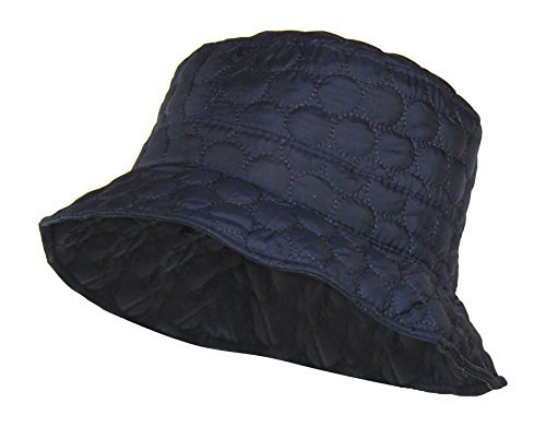 Navy Blue Water Repellent Quilted Bucket Rain Hat w/ Adjustable Drawstring by Folie Co. (Image #1)