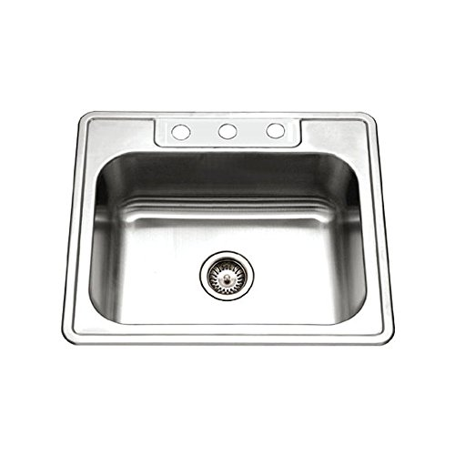Houzer 2522-8BS3-1 Glowtone Series Topmount Stainless Steel 3-hole Single Bowl Kitchen Sink, 8-Inch Deep (Renewed)