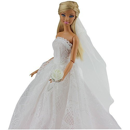 Lanlan Princess Evening Party Clothes Wears Dress Outfit Set +Veil for Barbie Doll