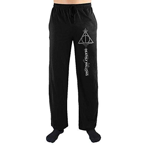 Harry Potter Deathly Hallows Logo Men's Black Sleep Pants (L) (Pants Harry Potter)