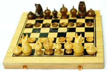 Thai Chess (Makruk) Wood, with Traditional Style Board