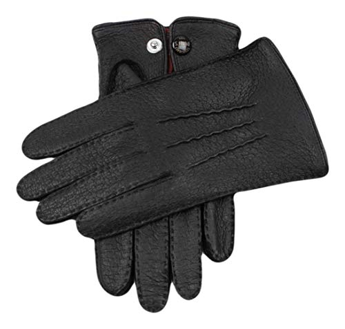 (Dents Mens Clifton Unlined Peccary Leather Gloves - Black - Extra Extra Large )