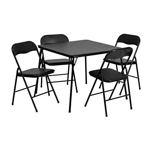 Offex OF-JB-1-GG 5 Piece Black Folding Card Table and Chair Set