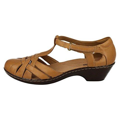 Clarks sandalias de tacón de la mujer Wendy loras Tan