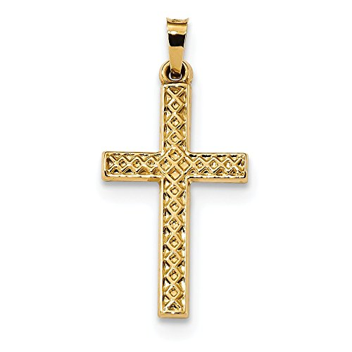 14k Gold Lattice - 14K Yellow Gold Polished Lattice Textured Cross Pendant