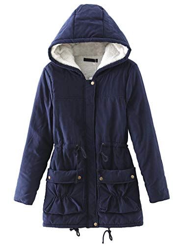- Chartou Women's Lovely Thicken Zip-Fly Hooded Lambswool Fleece Lined Long Jacket Coat Outwear (XX-Large, Navy Blue)