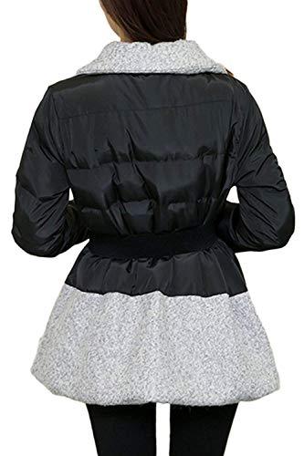 Outerwear Patchwork Elegantes Negro Lana Largo Mujer Abrigo Ropa vUTqrv