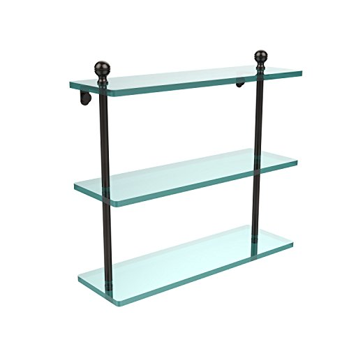 Allied Brass MA-5/16-ORB Mambo Collection 16 Inch Triple Tiered Glass Shelf Oil Rubbed Bronze