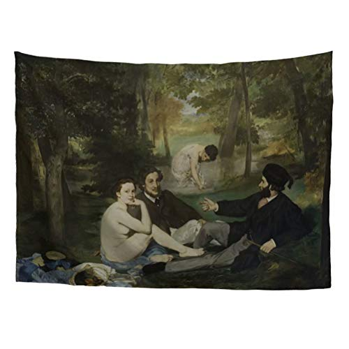 World Classic Art Masterpiece Tapestry Series Edouard Manet Luncheon on The Grass 1863. Classical Art Tapestry Wall-Hanging Antique Vintage Collection Home Décor