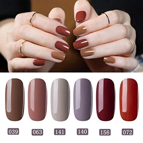 Perfect Summer Gel Nail Polish Set Autumn Winter Series Color , 6PCS Trend  Colors Varnish Semi,permanent Soak Off UV LED Manicure Deep Brown Nail Gel