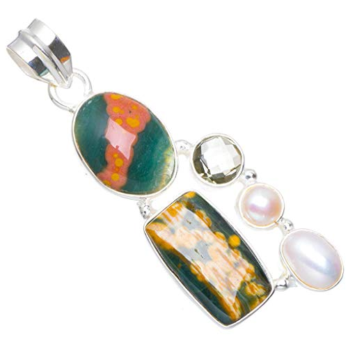 - Natural Ocean Jasper,River Pearl and Green Amethyst Handmade Unique 925 Sterling Silver Pendant 2