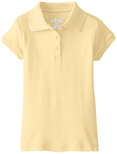 Izod Little Girls' Short Sleeve Uniform Polo, Yellow, Medium