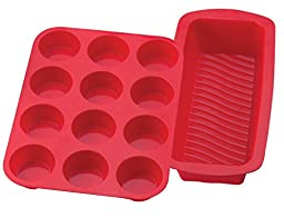 """Mrs. Anderson's BPA Free Silicone 12 Cup Muffin Pan and 9.5"""" x 4"""" Loaf Pan"""