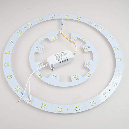 Lighting Groups Invisible Ceiling Fans Lights LED Light Board and LED Driver, 36W LED Board with LED Driver with White/Warm/Neutral Light Suitable for 42 Inch Retractable Ceiling Fan(7 inch, - Neutral Driver