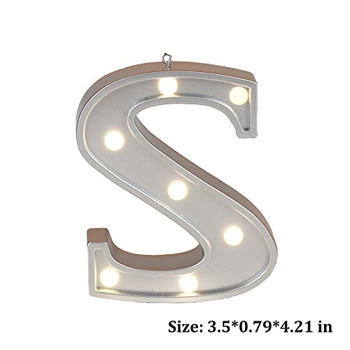 Small Letter S DIY LED Decorative Marquee Alphabet Letter Lights Sign, Light up Wooden Letter Lights, Party Wedding Decoration Wall Decor Light Color Silver 4.21 inches high
