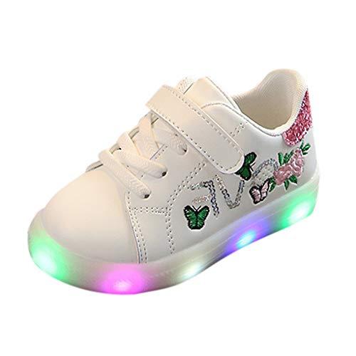 Sapienc Fashion Children Shoes Girls Boys Squeins Flower Butterfly Led Light Luminous Sport Shoes Pink ()