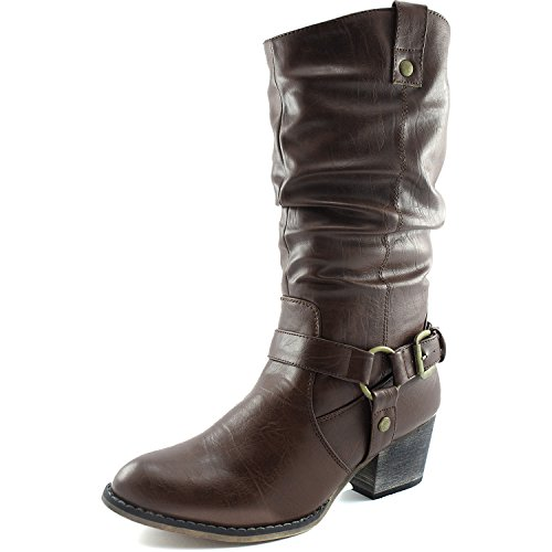 DailyShoes Women's Slouch Mid Calf Ankle Strap Buckle Western-01 Style Cowboy Boots Brown Pu