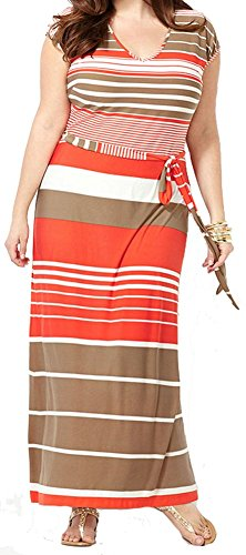 Women Sexy V Neck Cap Sleeve Plus Size Multicolor Striped Casual Maxi Dress (Roman Outfits For Womens)