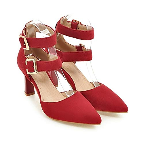 Heel Pump Chunky Yellow Red Fall Shoes Comfort Women's Heels Suede Green Green ZHZNVX Basic 8YWFzvv