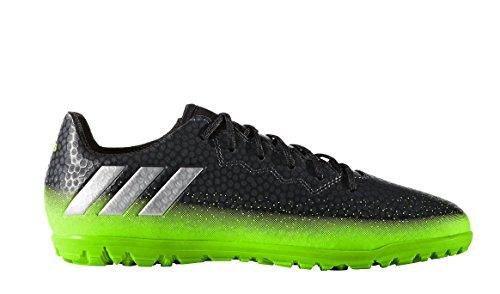 adidas Performance Kids' Messi 16.3 Turf Soccer Shoe (Little Kid/Big Kid), Dark Grey/Metallic Silver/Neon Green, 4 M US Big Kid