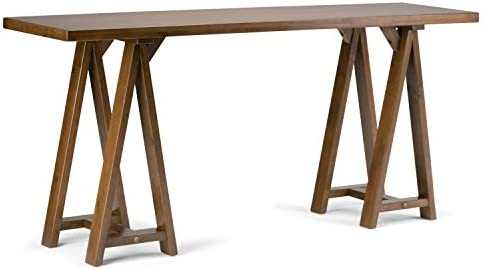 Simpli Home Sawhorse SOLID WOOD 66 inch Wide Modern Industrial Wide Console Sofa Entryway Table