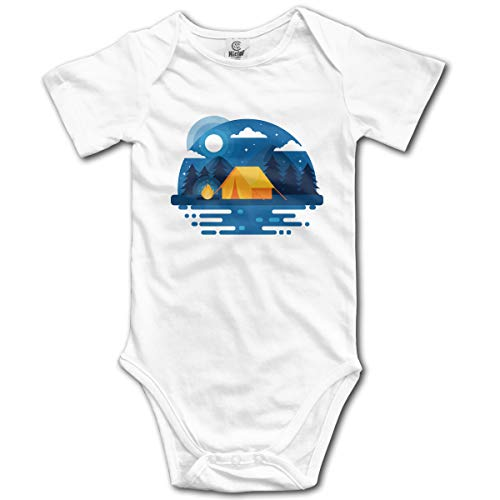 Price comparison product image Dejup Unisex Baby Short Sleeve Bodysuits Camp Funny Summer Boys Girls Onesies White