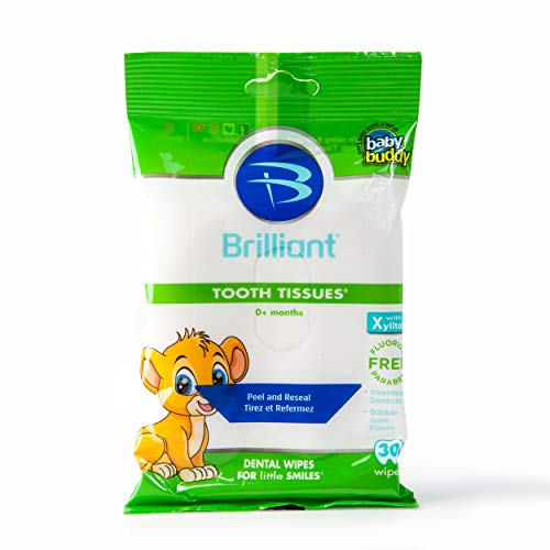 Brilliant Tooth Tissues with Xylitol - Bubble Gum Flavor Teeth Wipes for Babies and Toddlers - Kids Love Them, 30 Count