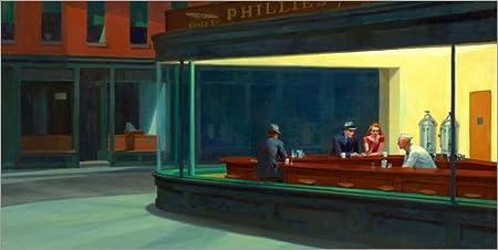 Posterlounge Lienzo 80 x 40 cm: Nighthawks de Edward Hopper - Cuadro Terminado, Cuadro sobre Bastidor, lámina terminada sobre Lienzo auténtico, impresión en Lienzo