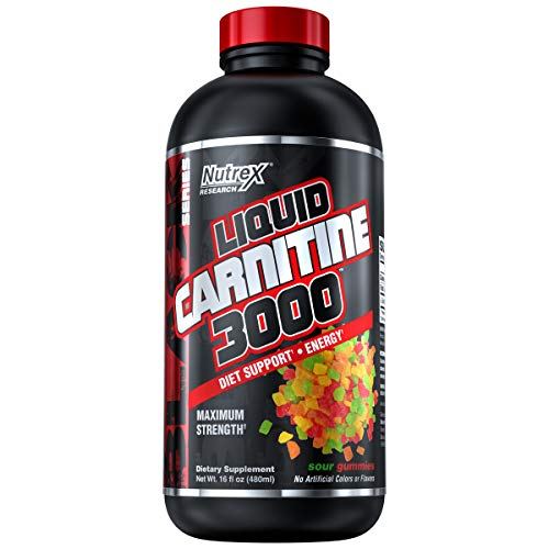 Carnitine Liquid - Nutrex Research Liquid Carnitine 3000 | Premium Liquid Carnitine, Stimulant Free, Fat Loss Support | Sour Gummy