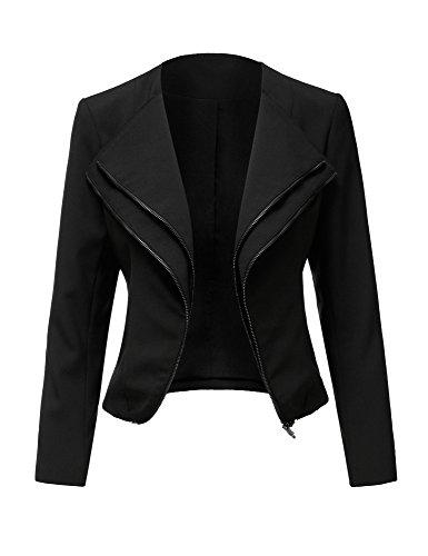 Cheap LookbookStore Women's Casual Long Sleeve Slim Fit Double Lapel Zip Blazer Jacket hot sale