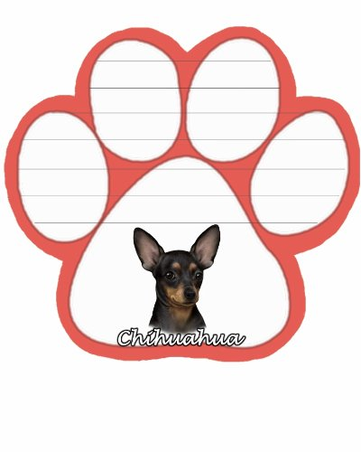 Chihuahua, Black Notepad With Unique Die Cut Paw Shaped Sticky Notes 50 Sheets Measuring 5 by 4.7 Inches Convenient Functional Everyday Item Great Gift For Chihuahua, Black Lovers and Owners