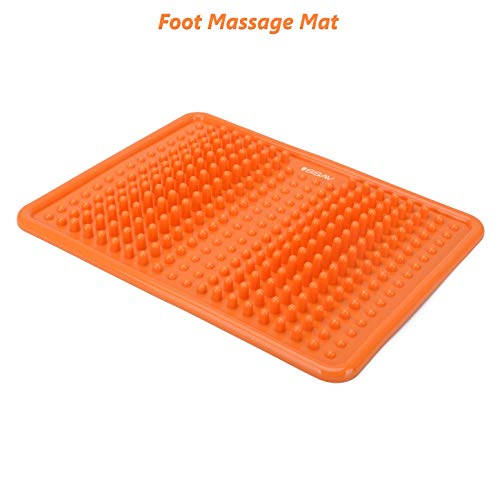 Foot Massage Mat, Acupressure Massage Mat, Manual Massaging Mat, Relaxation Reflexology Mat, Plantar Fasciitis, Heel, Stress, Pressure, Pain Relief, Spiked, Yoga Mat, Bath Mat, Orange Massager Mat