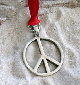 4829cf0d9 Image Unavailable. Image not available for. Color: Pewter Classic Peace Sign  Love Hippie Christmas Ornament Holiday Decoration