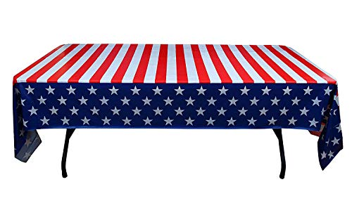 Exquisite 6-Pack Premium Rectangle American Flag Design Plastic Tablecloth - USA Stars and Stripes Tablecloth Disposable Plastic Table Cover for July 4th - 54 inch. x 108 inch. ()