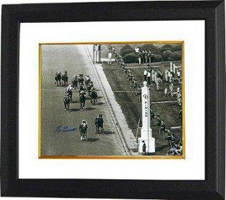 Athlon CTBL-BW15993 Secretariat Signed 1973 Kentucky Derby Horse Racing Photo Vintage B&W Finish Line Custom Framed - Steiner Hologram - 16 x 20