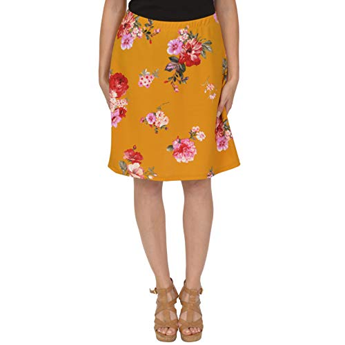 Stretch is Comfort Women's A-Line Skirt Multi Floral Mustard Yellow 3X ()