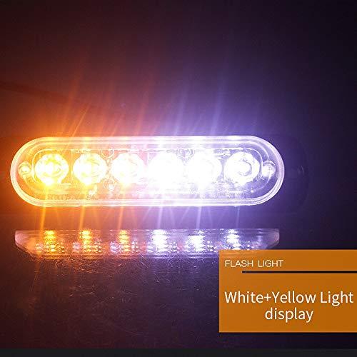 Moligh doll 12V-24V 6LED Luce Flash Emergenza Veicolo Auto Strobe Lampeggiante Bianco E Giallo