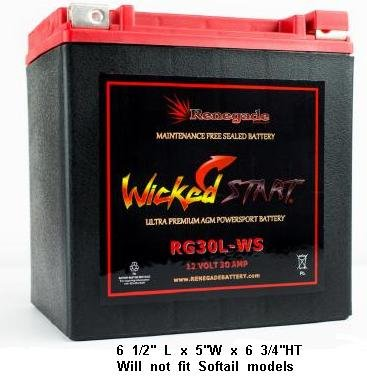Harley Motorcycle Battery - Renegade RG30L-WS 12 Volt 30 AH Ultra Premium Wicked Start 600+ CCA Touring Battery