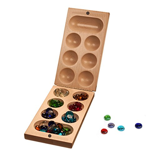 WE Games Folding Mancala Game - Solid Maple Wood & Glass Stones (Made in ()