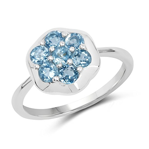 (0.76 Carats Genuine Swiss Blue Topaz Blossom Ring Solid .925 Sterling Silver With Rhodium Plating)