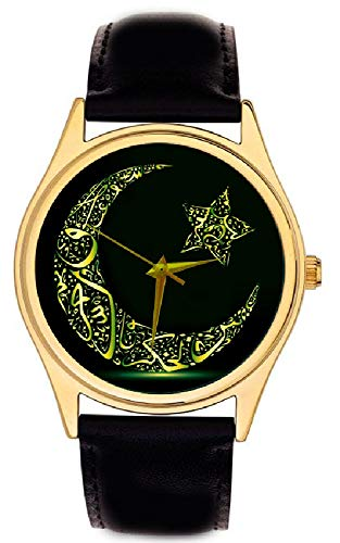 (Ramadan Kareem Fantastic RAMZAN Arabic Islamic Crescent Moon Calligraphy Art Solid Brass Wrist Watch)