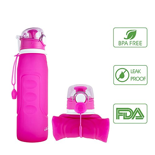 iKiKin Silicone Collapsible Water Bottle, BPA Free, Leak Proof, FDA Approved, Foldable and Portable for Sports Outdoor Travel Camping Picnic School,1000ml 1L 35OZ - Body 35 Oz